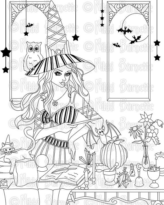 Digital Stamp - Printable Coloring Page - Fantasy Art - Witch Stamp ...