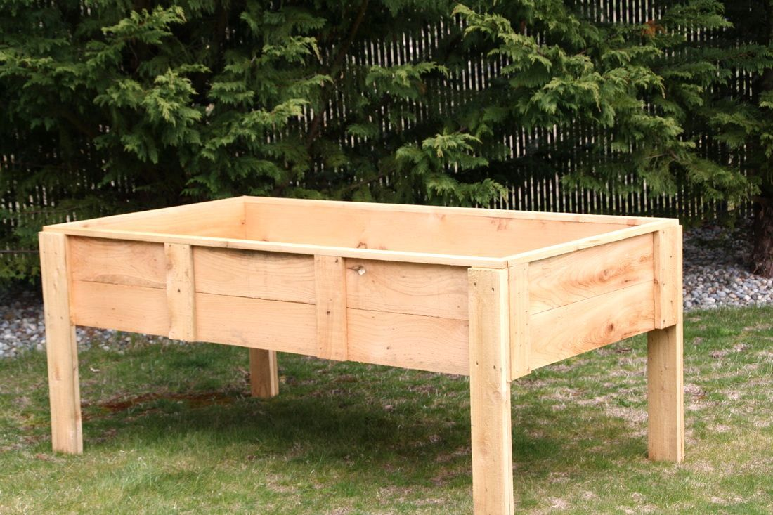 How to build a raised garden bed with legs raised garden for Vegetable garden table plans