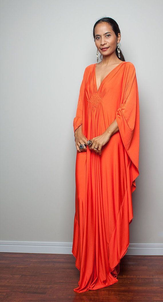 Orange Dress - Kimono Butterfly Bright Orange Maxi Dress : Funky ...