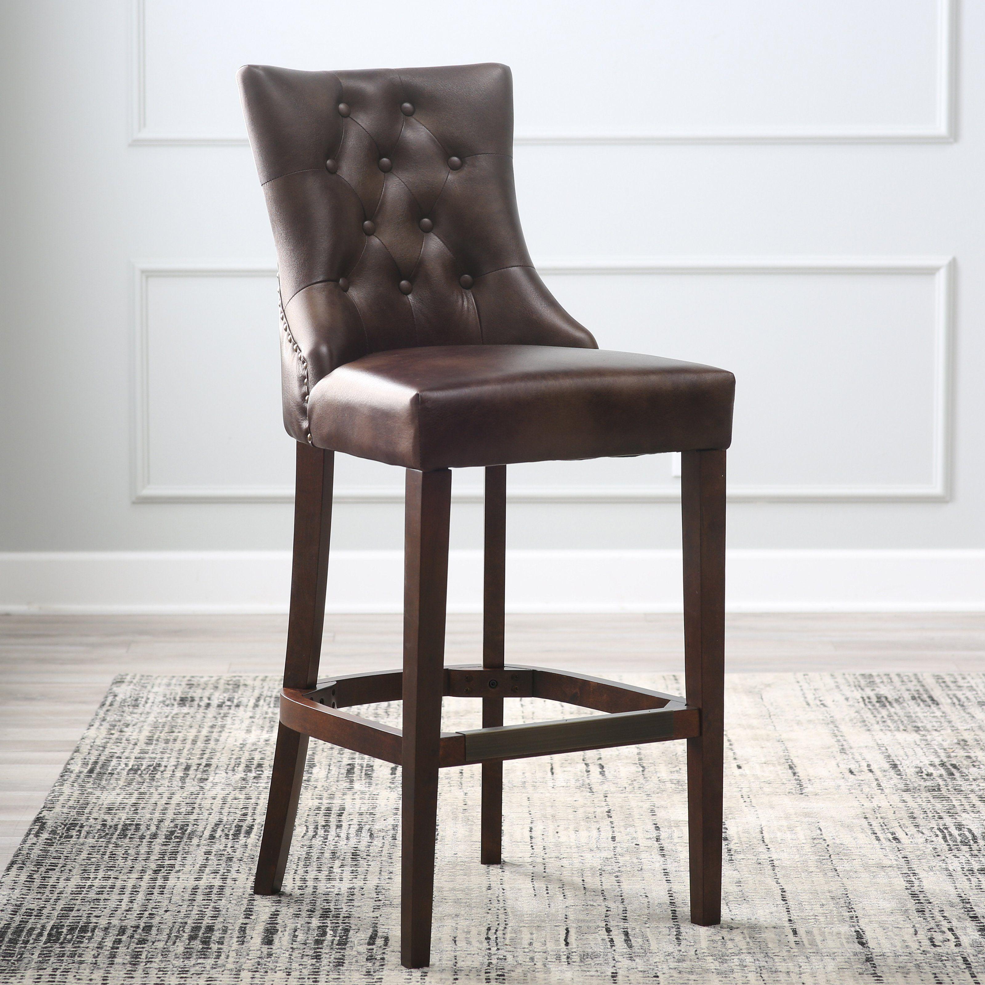 Belham living thomas bonded leather tufted bar stool from hayneedle com