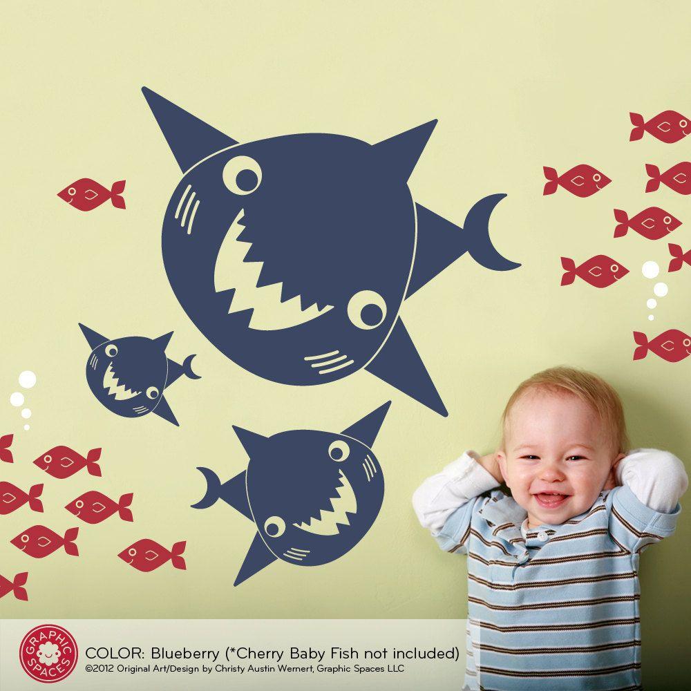 Happy Shark Family Wall Decals: Ocean Sea Life Underwater Nursery ...