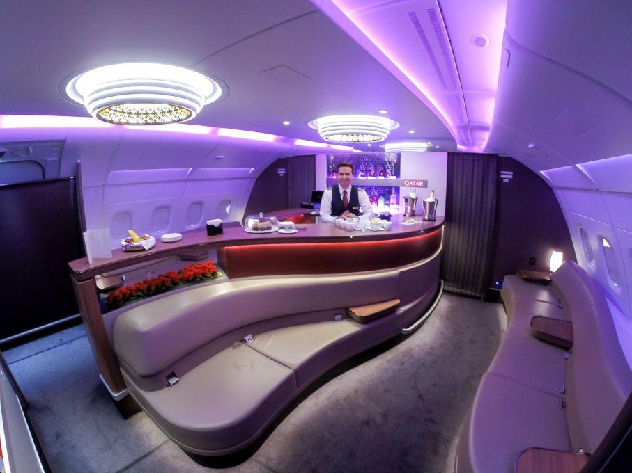 Qatar a380 first class bar lounge luxury jets