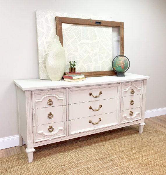 Lovely Long White Dresser   9 Drawer Dresser   Shabby Chic Dresser   Used Furniture  NJ