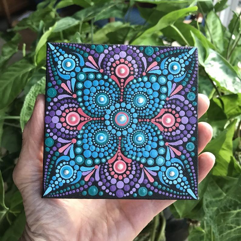 Dot Art Mandala painting on canvas with easel, meditation dot mandala miniature on easel