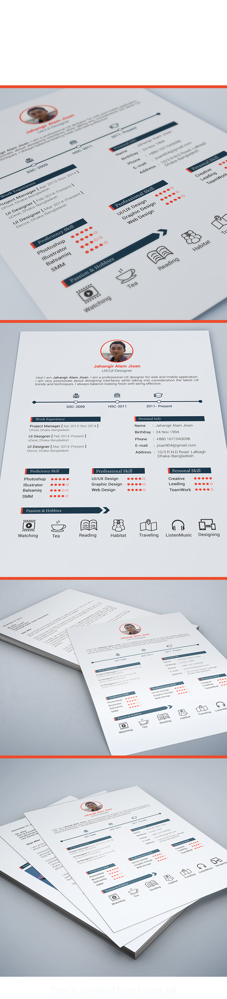 Free Resume Template  Page On Behance  Logo  Web Design