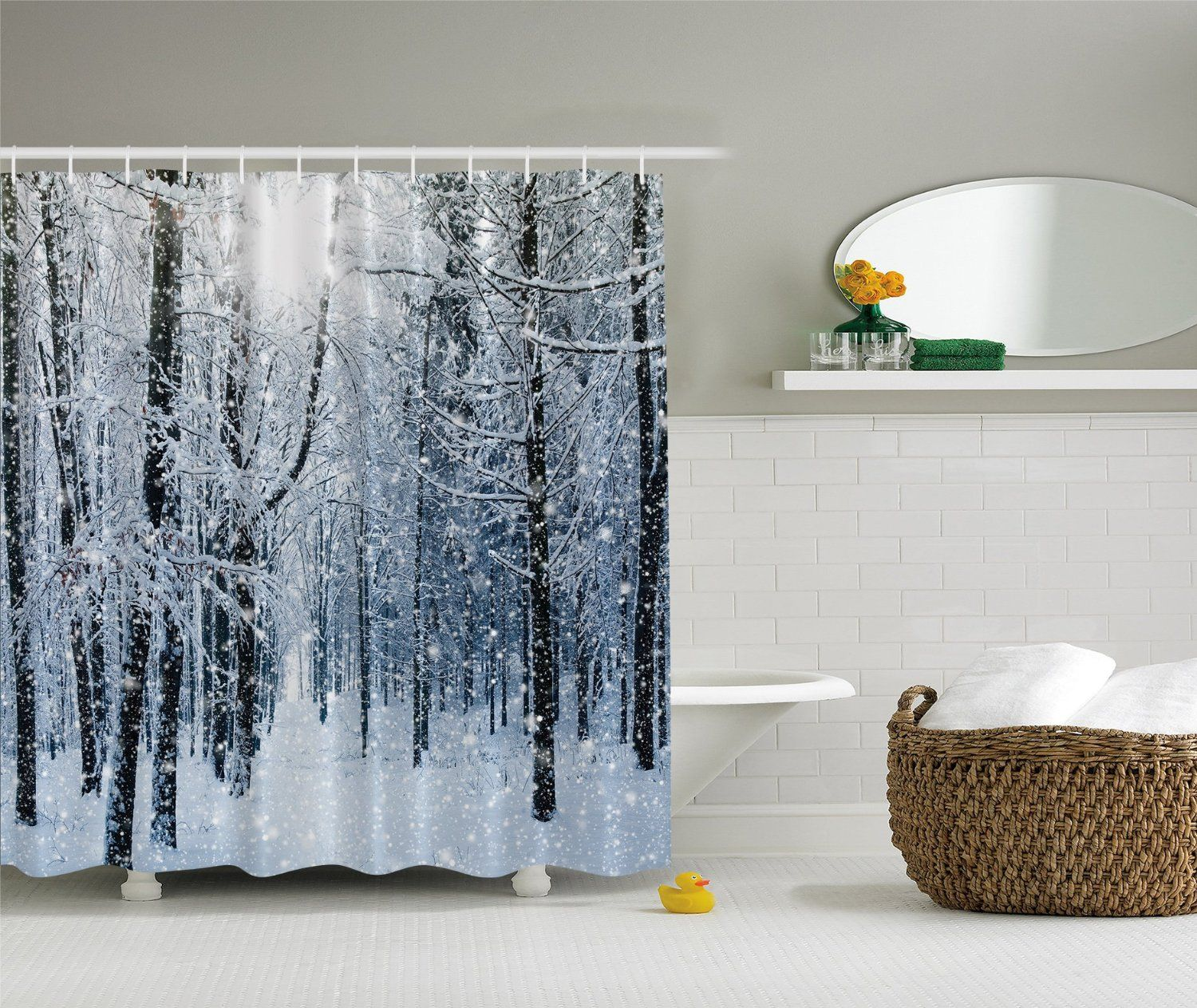 Amazon Com Winter Snow On Trees In A Forest Fabric Shower Curtain Bedding Fabric Shower Curtains Shower Curtain Sets Cool Shower Curtains