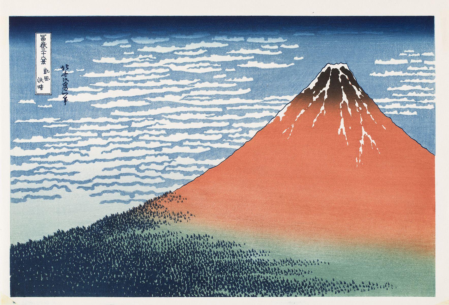 Katsushika Hokusai (1760-1849) Fuji etelätuulessa kirkkaana aamuna (Punainen Fuji), 1994. Ateneumin taidemuseo. Kuva: Kansallisgalleria / Yehia Eweis