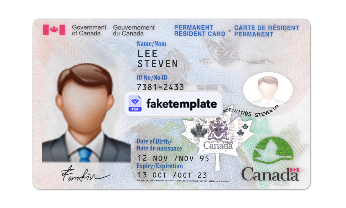 Order A Fake Canadian Permanent Resident Card In 2021 Id Card Template Passport Template Cards