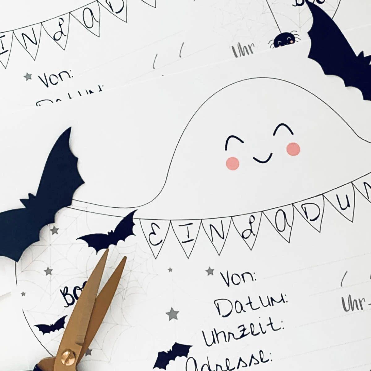 Vorlage Fur Eine Halloween Einladung Fur Kinder In 2020 Halloween Einladung Halloween Anhanger Halloween Feiern Mit Kindern