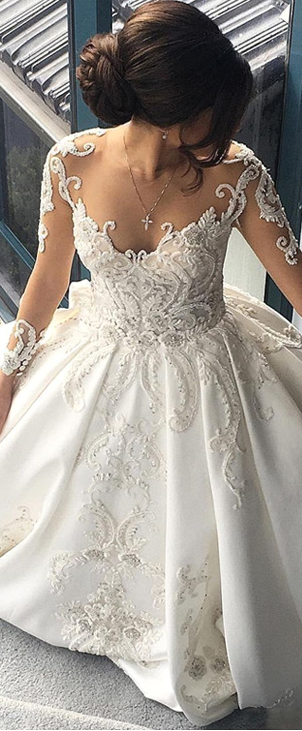 Attractive Tulle Satin Sheer Jewel Neckline A Line Wedding Dresses With Beaded Lace Appliques Wedding Dresses Satin Ball Gowns Wedding Wedding Dress Train