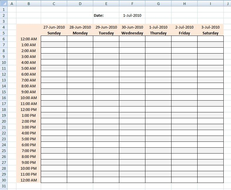 Hourly Schedule Template Excel Template Business within Weekly