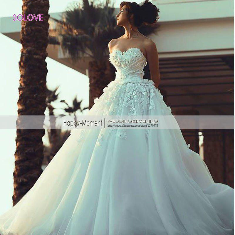 Saudi Arabia Sweetheart Flowers Princess Wedding Dress 2016 Elegant ...