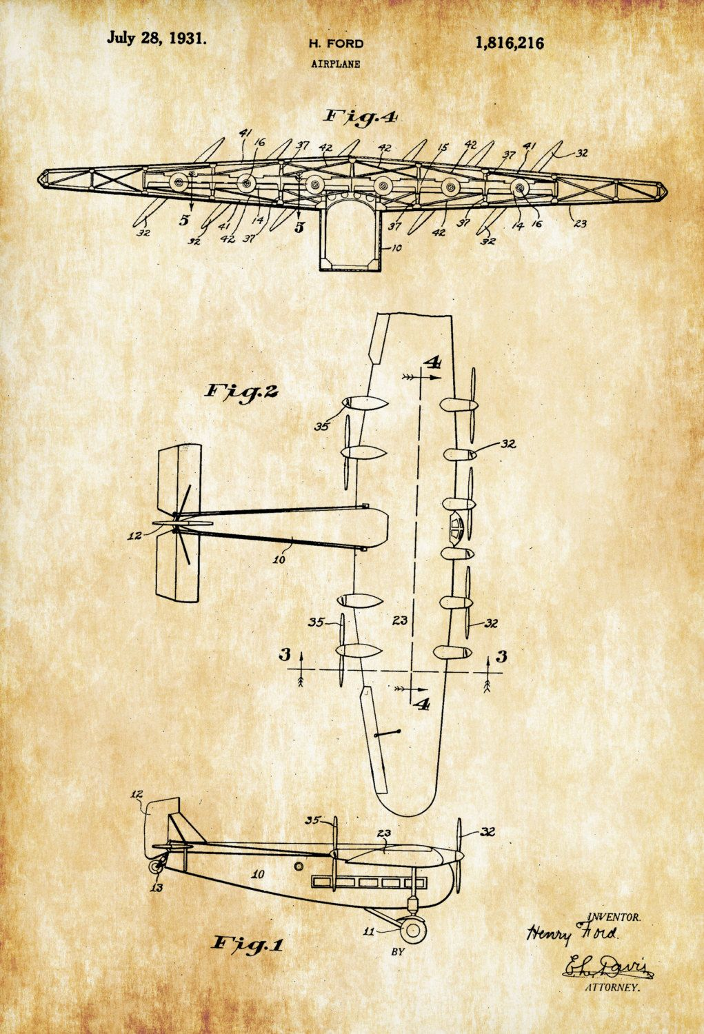 Henry Ford Airplane Patent - Vintage Aviation Art, Airplane Art ...