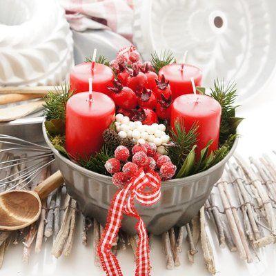 Adventskranz im Landhausstil, rot weiße Landhaus Deko selber machen, o #selbstgemachtesweihnachten