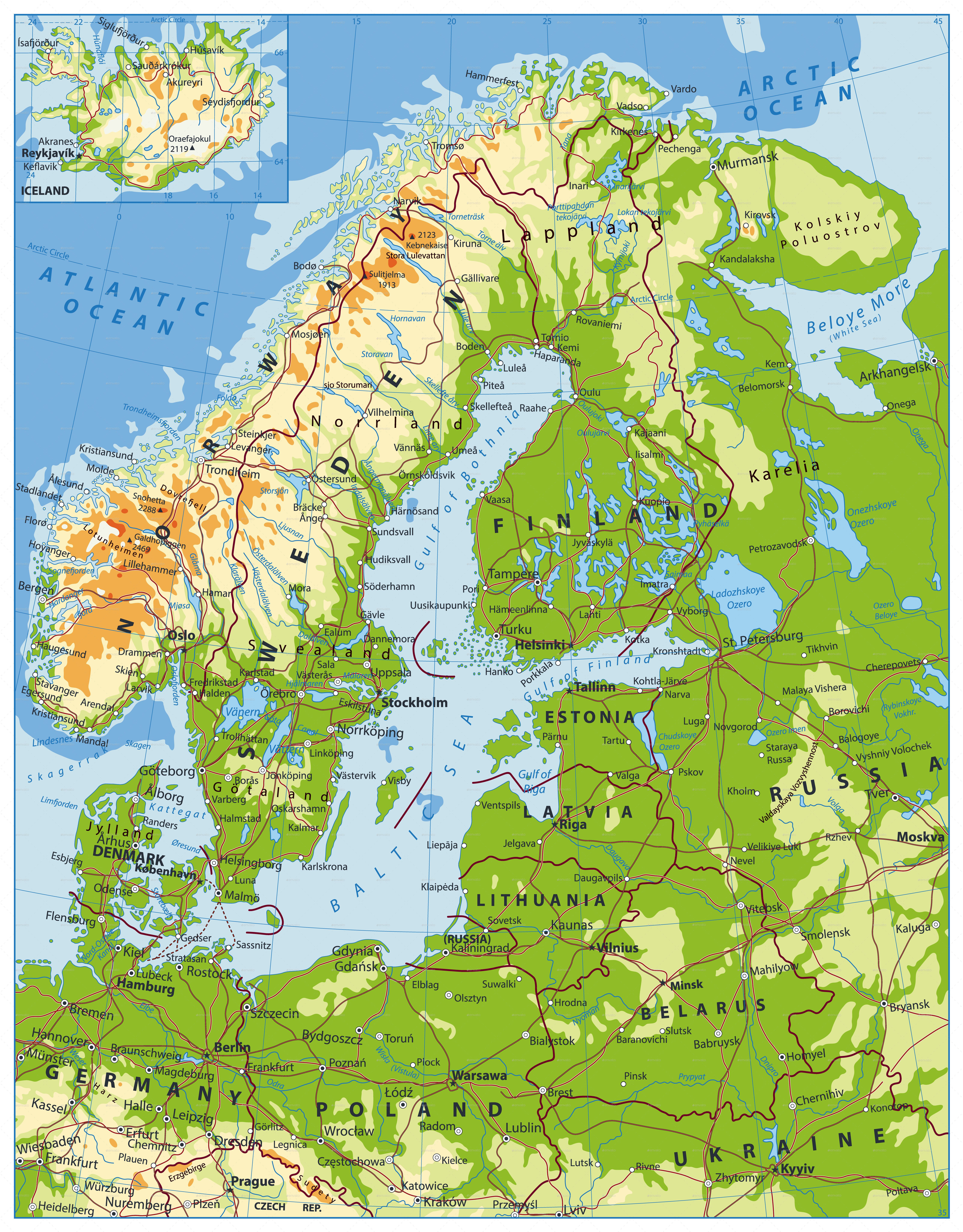 physical map of northern europe Northern Europe Physical Map   Map, Physical map, Contour map