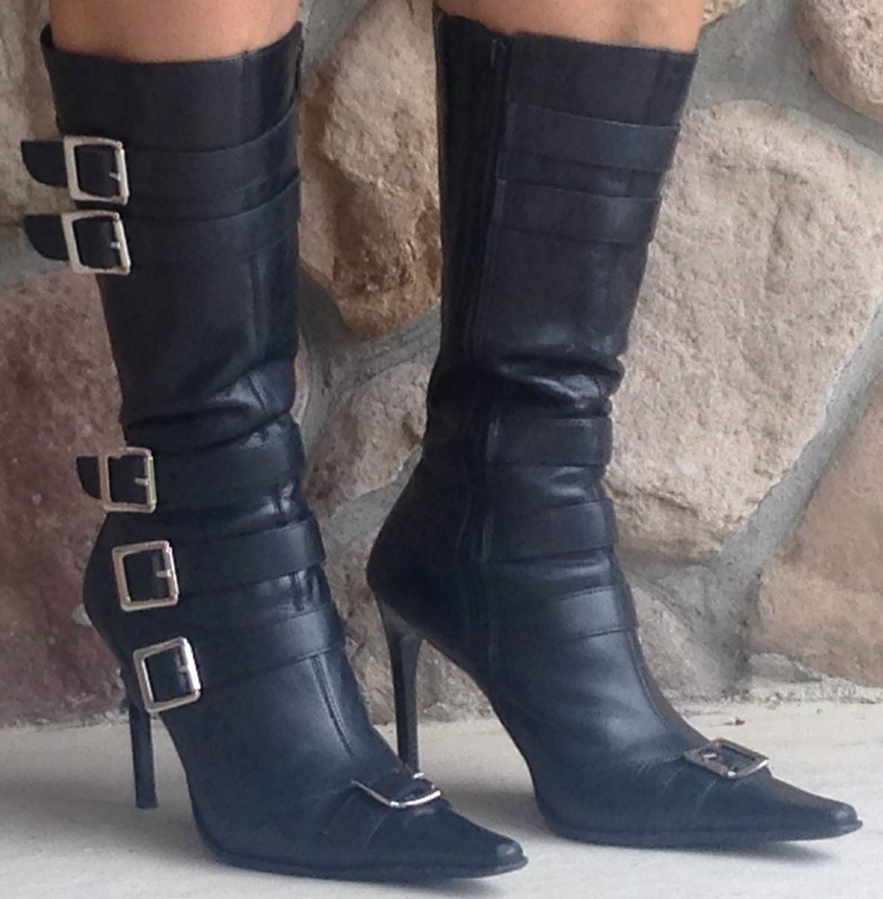 BAKERS Black Leather HALLE Stiletto Zip Up Boots size 7 #BAKERS #FashionMidCalf