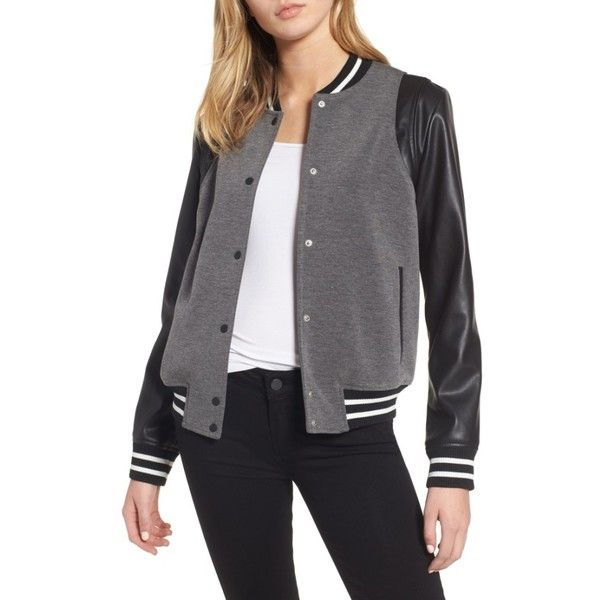 Women's Trouve Varsity Jacket (€110) ❤ liked on Polyvore featuring outerwear, jackets, grey combo, varsity bomber jacket, grey varsity jacket, college letter jackets, gray varsity jacket and college jacket