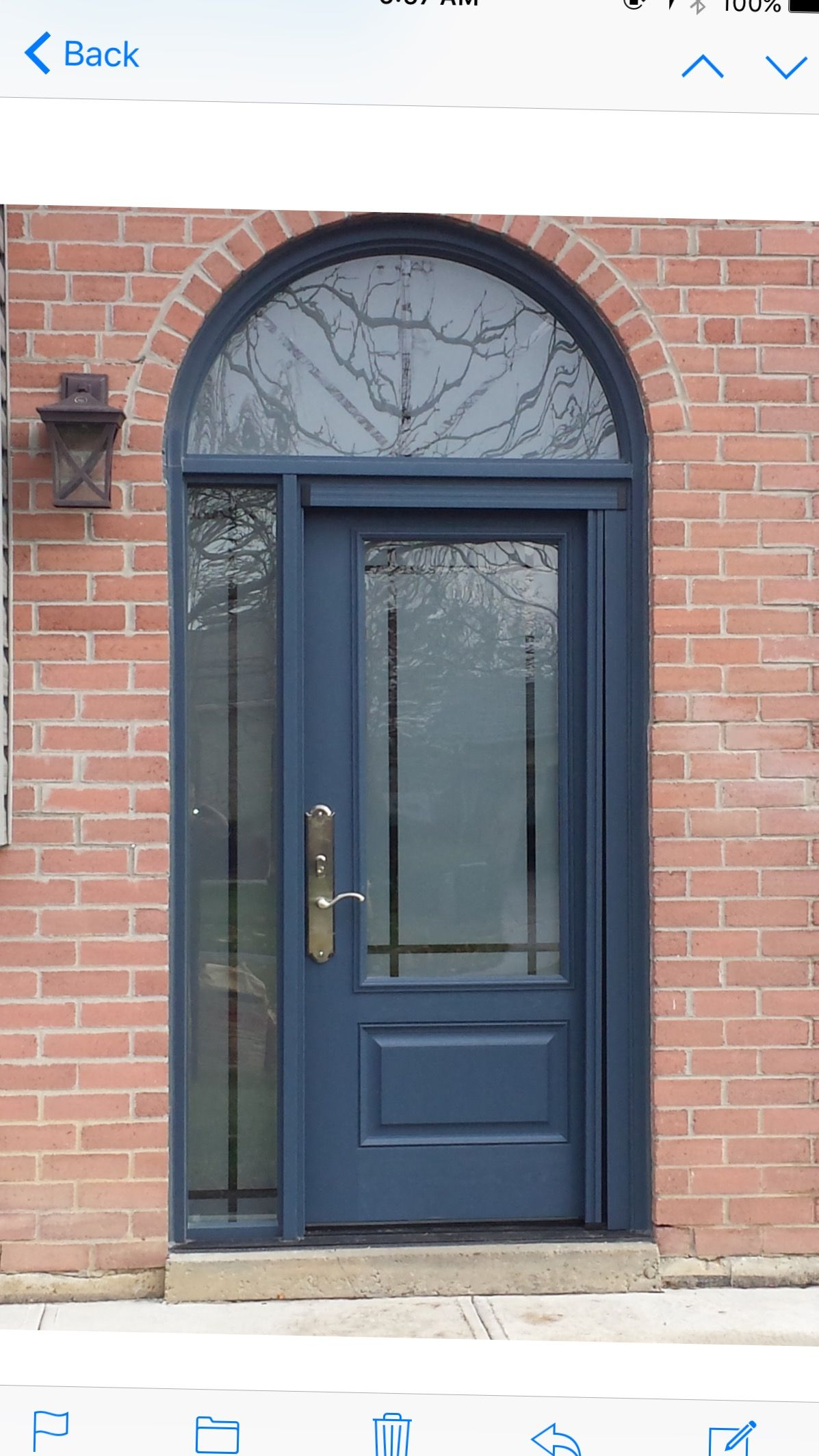 Mastergrain Fiberglass Door With Half Round Transom With Clear