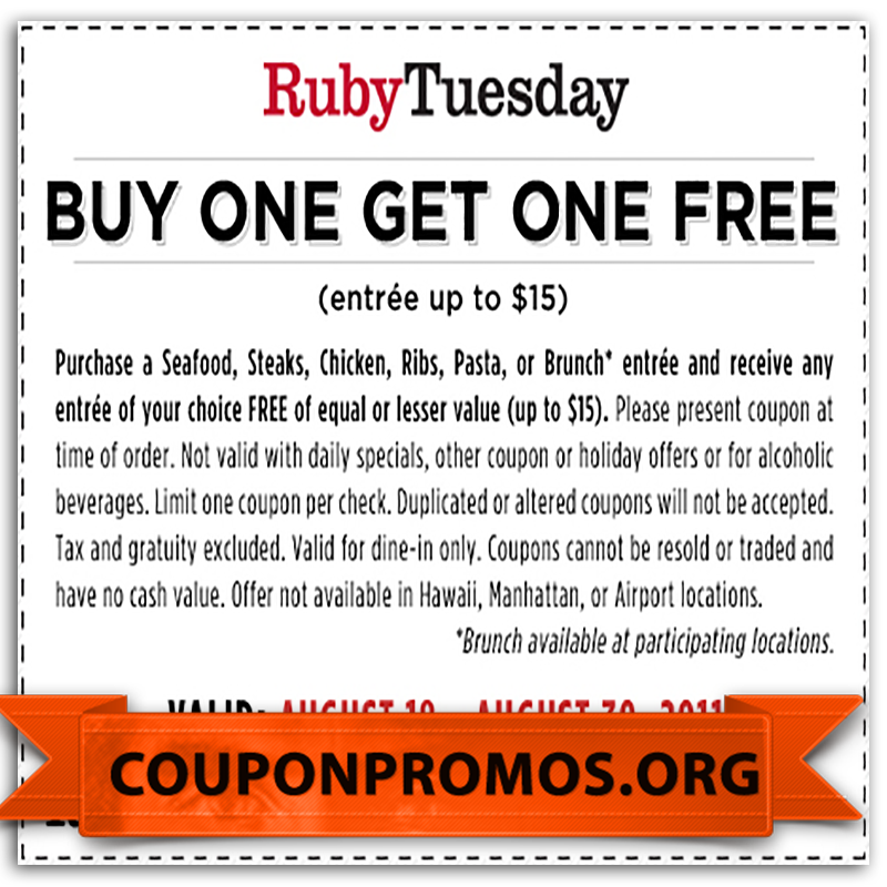picture regarding Ruby Tuesdays Coupons Printable named free of charge on line Ruby Tuesday coupon codes for July Printable Coupon
