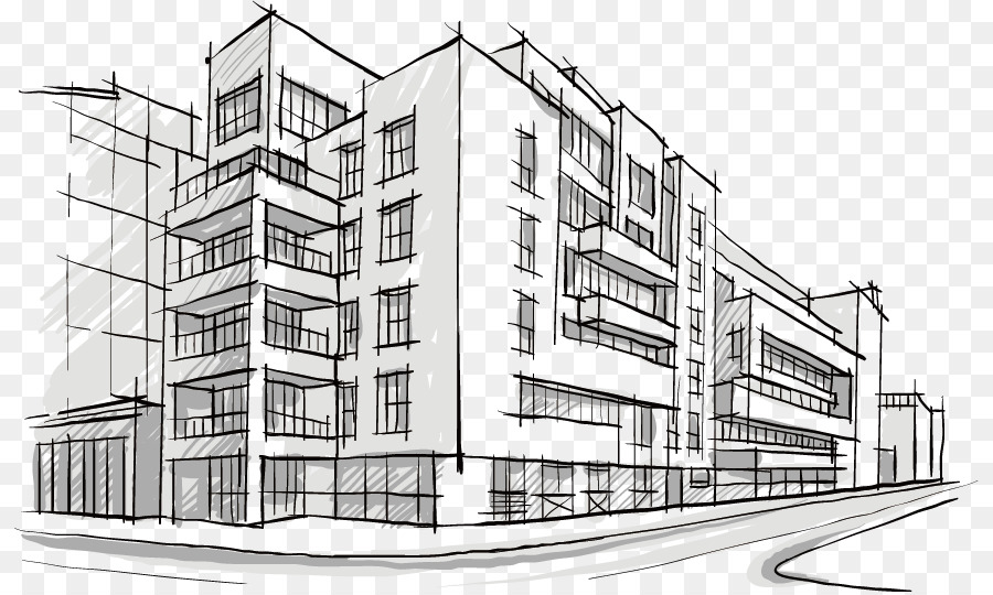 Building Architectural Drawing Architecture Sketch Hand Painted