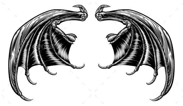 bat or dragon wings miscellaneous vectors best vector design
