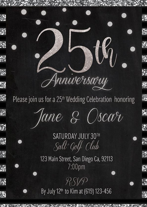 Printable 25th wedding anniversary invitation, silver wedding invites, 25th marriage celebration, 25