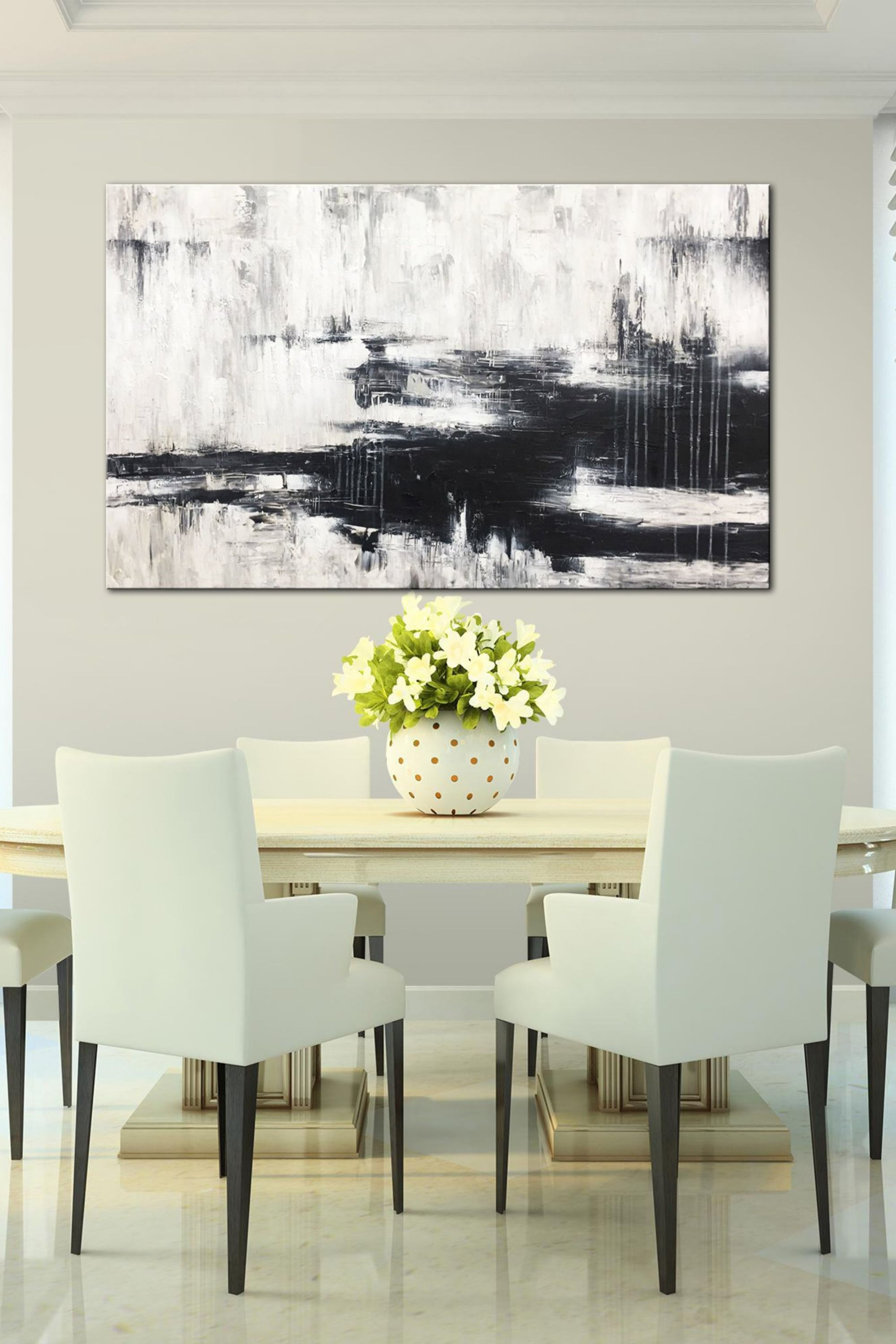 Painting Black And White Abstract Painting Black White Wall Art Acryl Wall Art Decor Living Room Canvas Wall Art Living Room Contemporary Art Painting Abstract