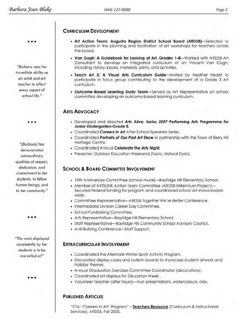 Dance Resume Examples Elementary Art Teacher Resume  Httptopresumeelementary
