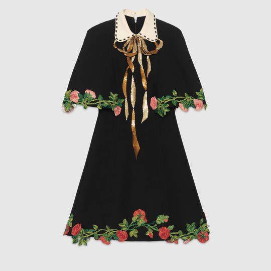 Embroidered wool silk cape dress - Gucci Women s Dresses 430664ZHZ331102 db2feea32a