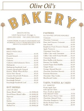 bakery menus - Google Search | Bakery menu | Pinterest | Bakery ...