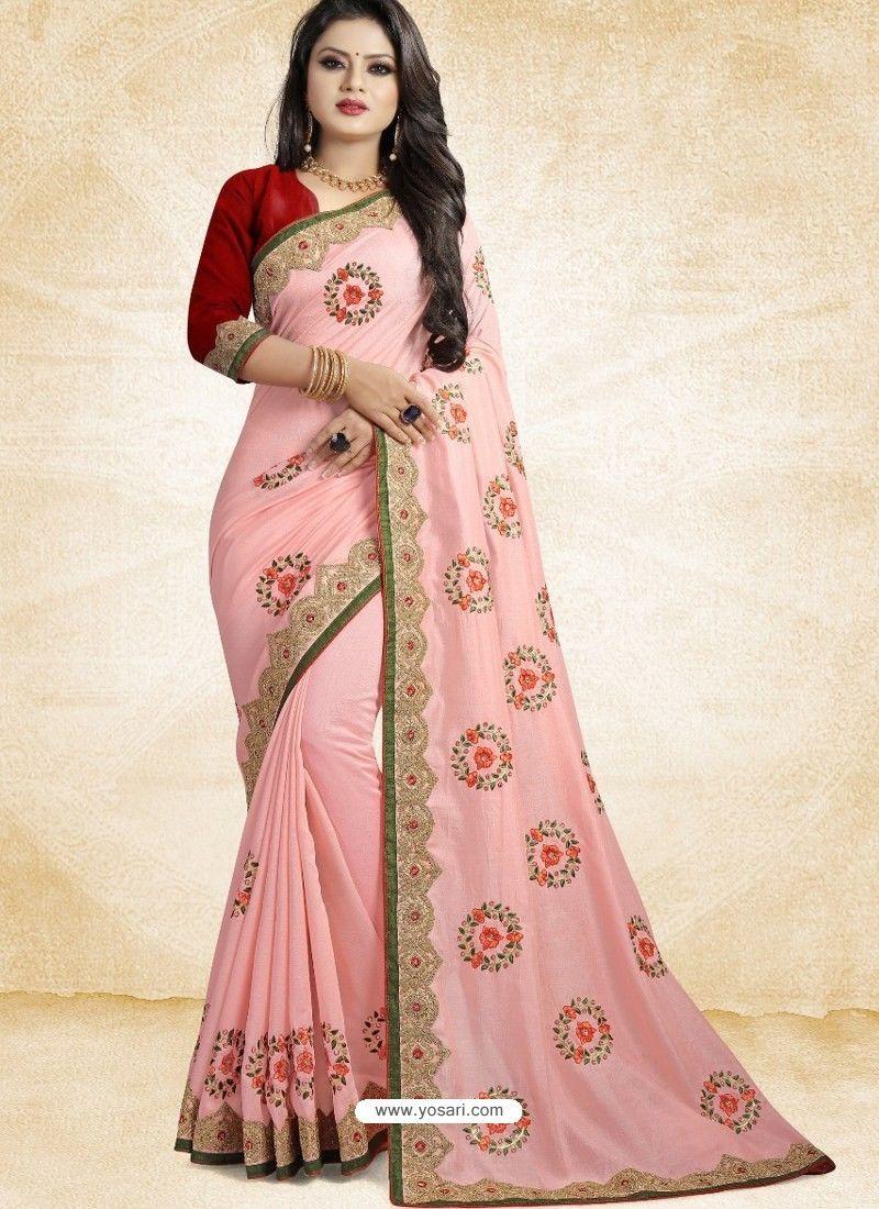 rose pink saree Vichitra silk with embroidery work Saree and blouse for women,Indian saree,wedding saree,designer saree,saree dress,saris