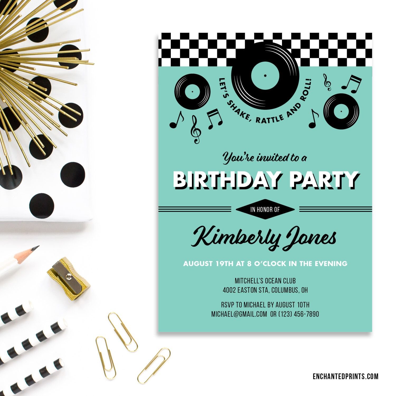 1950s Retro Birthday Invitation, 1950s Birthday, Fifties Birthday ...