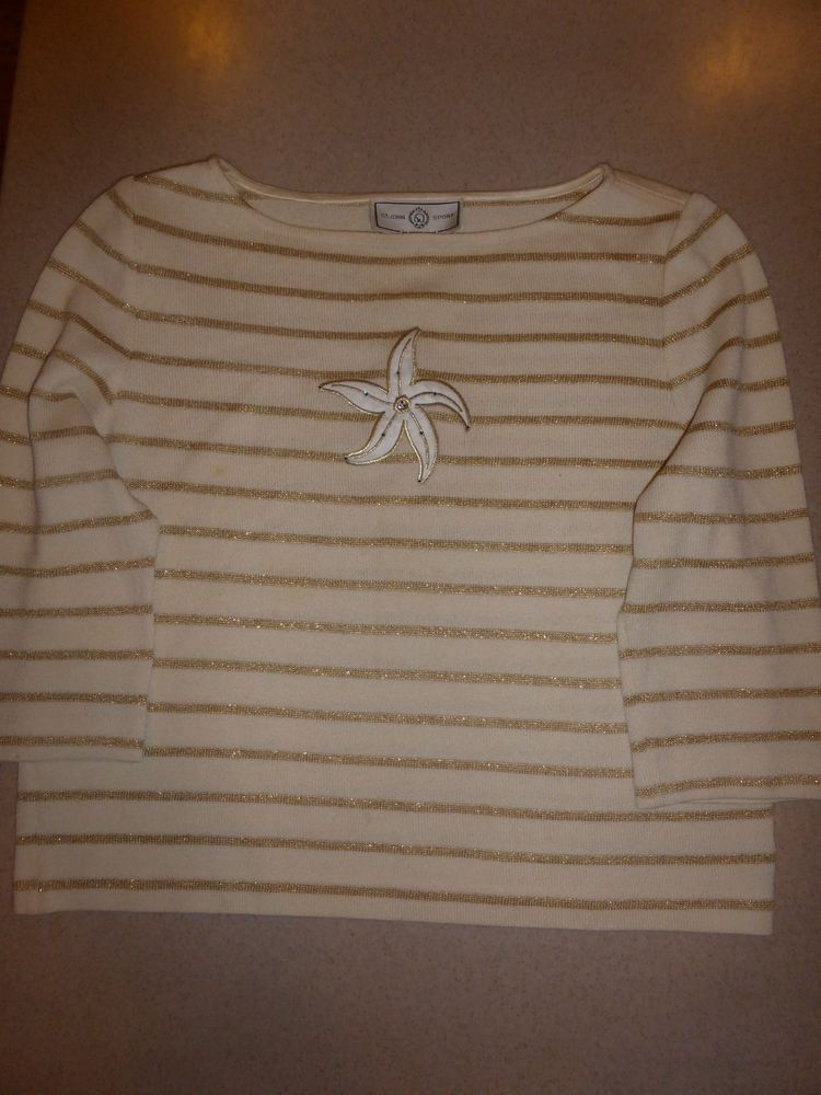 8e4bd5a313bd4 St. John Sport Sweater Pullover Womens Santana Knit sz L Large  StJohn   PulloverSweater