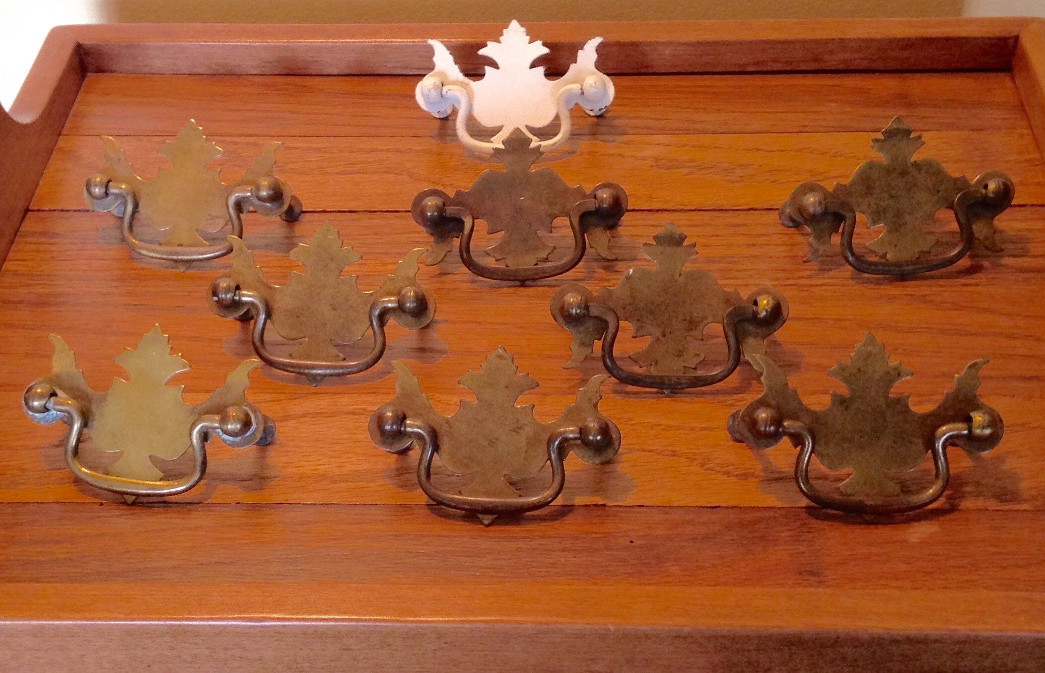 Vintage french country brass handle knob pull hardware dresser