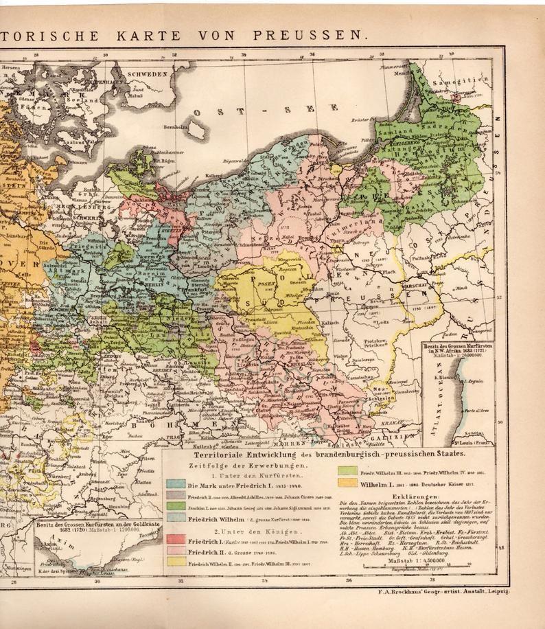 1895 Preussen Historische Karte Historische Karte Von Preussen Etsy Historical Maps Chromolithograph Brandenburg