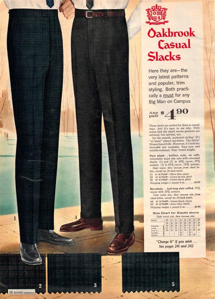 2b6c24270b2f8 Men s Slacks from a 1962 catalog.