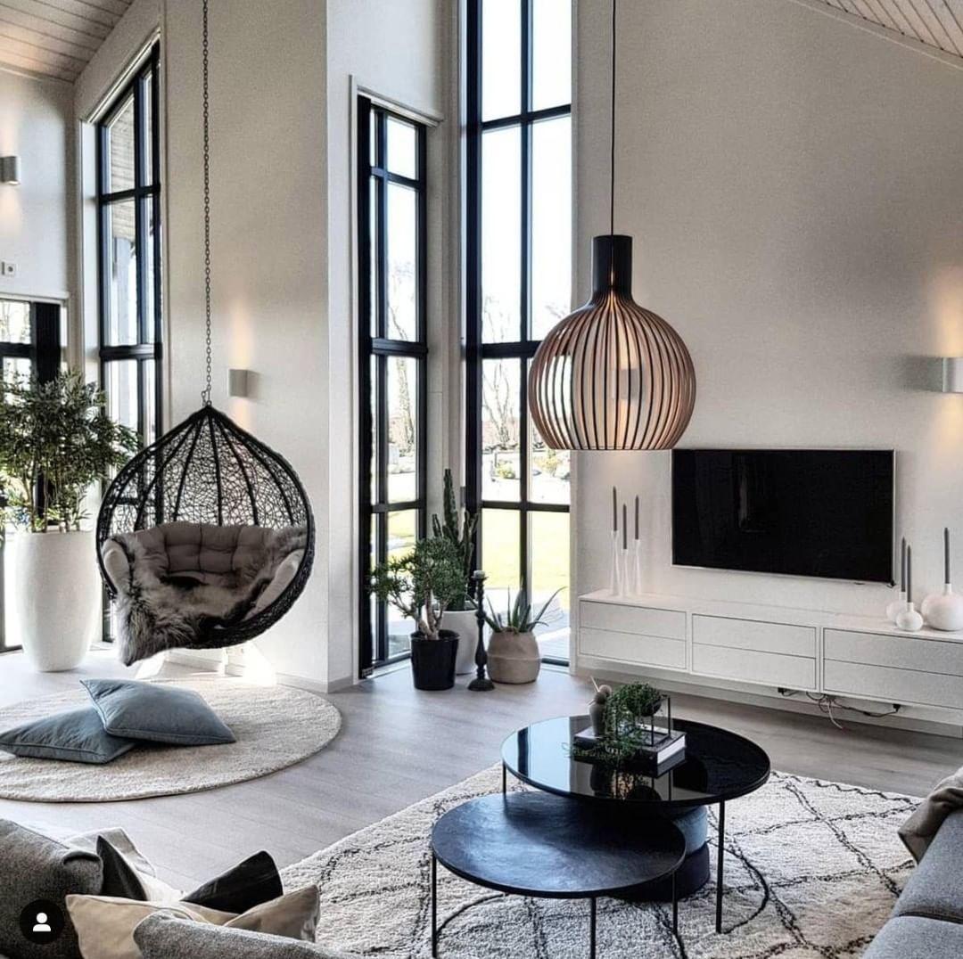 """Photo of Maison&Jardin on Instagram: """"MAISON&JARDIN adore cet intérieur avec fauteuil suspendu de @norwegianfairytale, quelle luminosité! __________________________ Suivez…"""""""