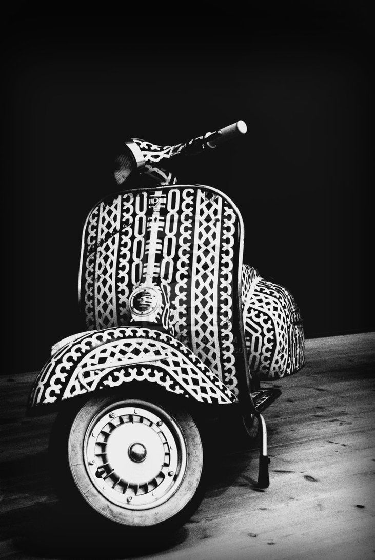 Black & White Vespa, with amazing decal patterns. Amazing contrast and tone