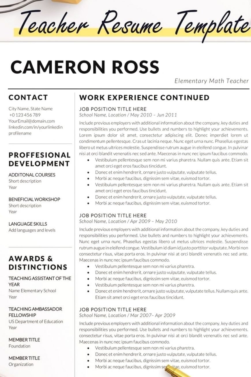 Teacher Resume Template Cameron Ross Teacher Resume Template Resume Template Resume