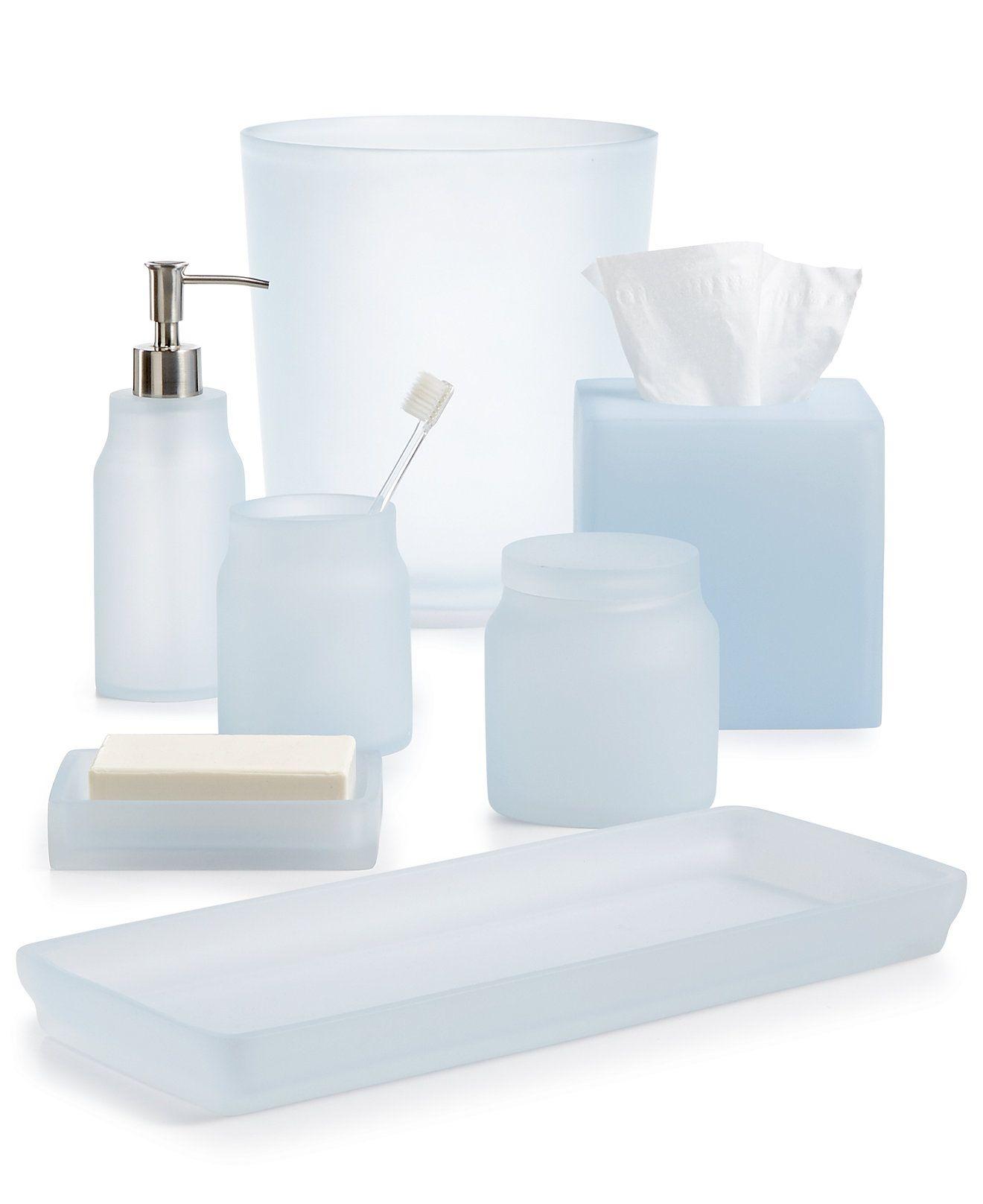 Martha Stewart Collection Frosted Powder Blue Bath Accessories