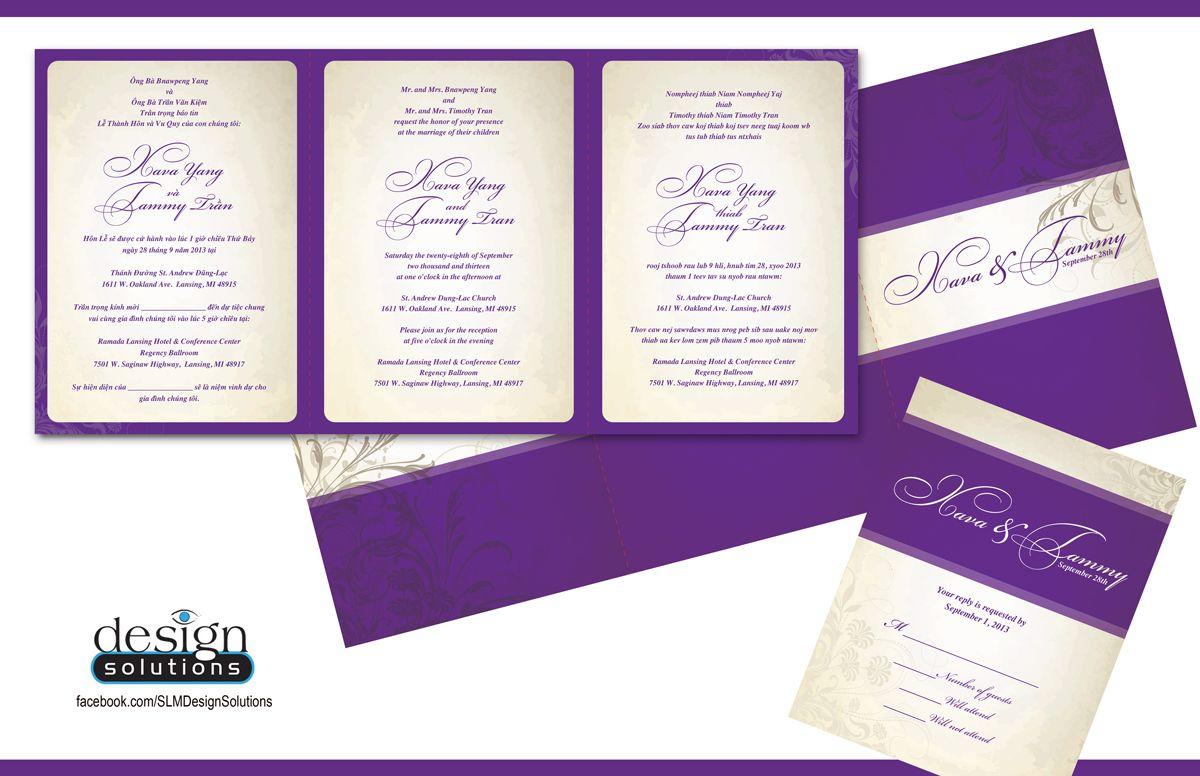 trilingual trifold wedding invitations custom designs and more