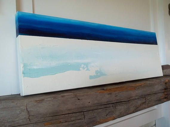 Pintura abstracta original con textura con tonos azul y cuadros