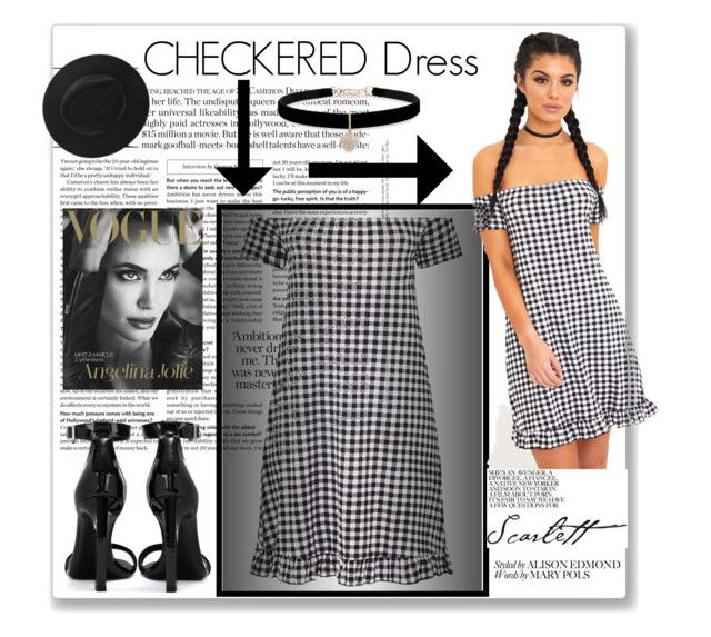 """CHECKERED DRESS👇"" by red-rose26 ❤ liked on Polyvore featuring Yves Saint Laurent and Betsey Johnson"