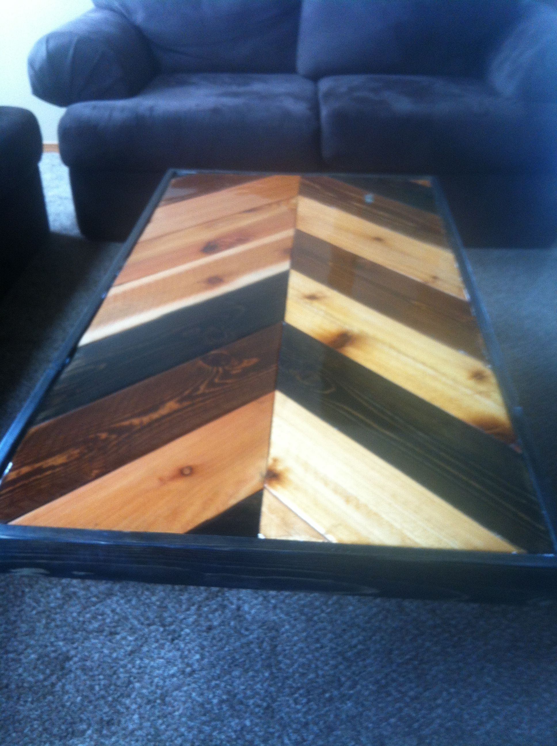Multi Colored Stained Coffee Table Herringbonechevron Style