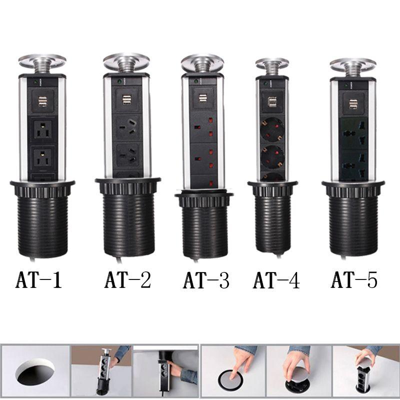 Fashion Durable Charge Usb Kitchen Pop Up Desktop Socket 3 Outlet Silver Black Color Free Shipping