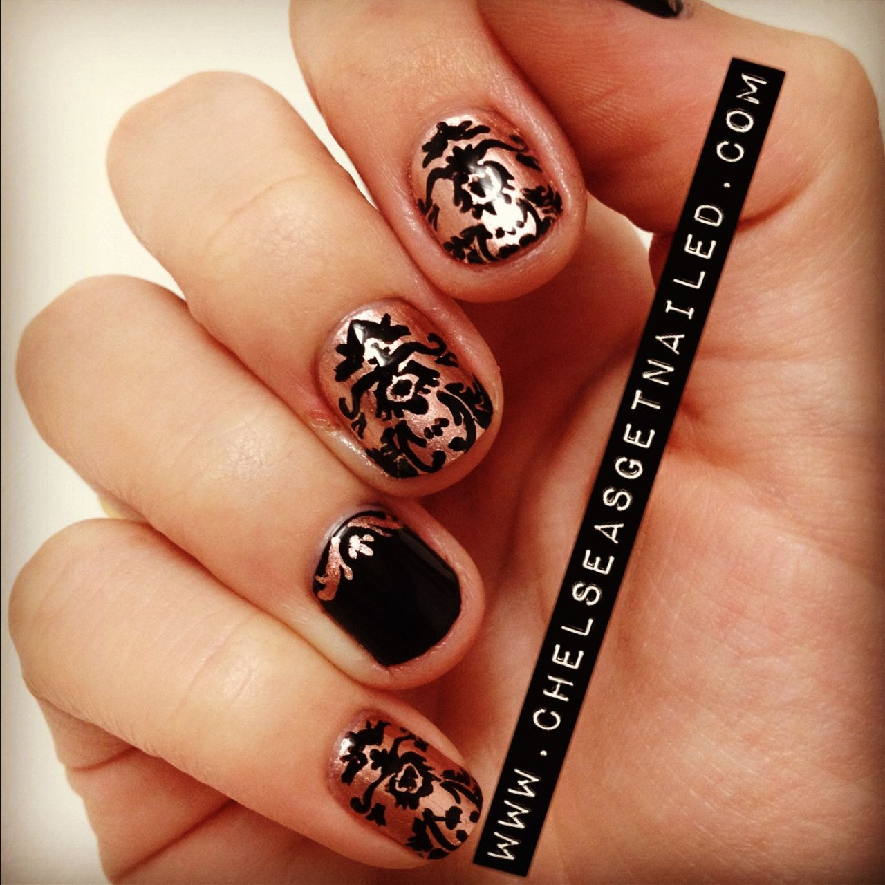Brocade print nails! What I Used: -Essie Penny Talk -Essie Licorice ...