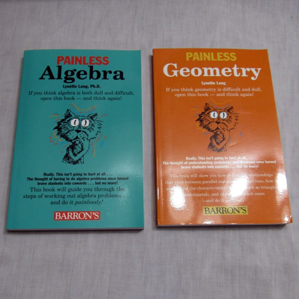 Barron\'s Painless Geometry Painless Algebra 2 Book Lot Lynette Long ...
