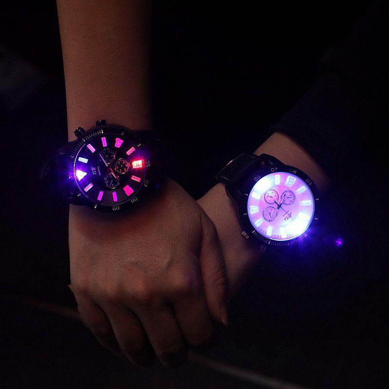 fashion jis brand big dial led backlight rubber sport watch wrist black white
