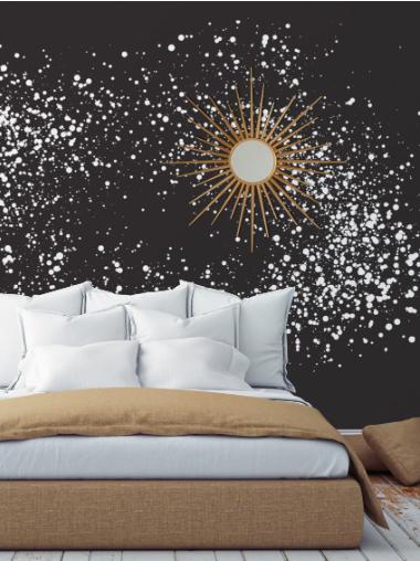 deco chambre papier peint adhesif cosmos papermint le blog d co de mlc chambre pinterest. Black Bedroom Furniture Sets. Home Design Ideas