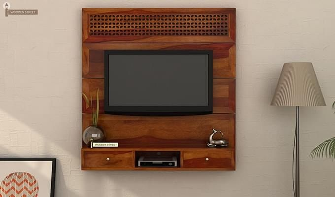 Buy Kristen Wall Mount Tv Unit Honey Finish Online In India Wooden Street Wall Mounted Tv Unit Wall Mounted Tv Wall Unit Designs